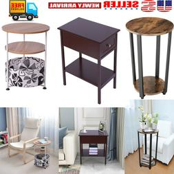 2/3-Tier End Table Side Modern Table Storage Shelf Living Ro