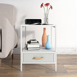 Lifewit 2-tier Side Table End Table, Nightstand with Drawer,