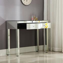 2 Drawer Mirrored Silver Vanity Make-Up Console Dressing Tab