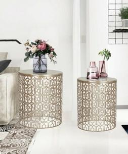 2 Gold Bronze Nesting Accent Coffee Side End Table Nightstan