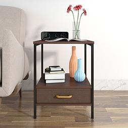 Lifewit 2-Tier End Table with Fabric Drawer for Living Room,