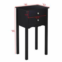 2 PCS Side Table End Accent Table Night Stand W/ 2 Drawers B