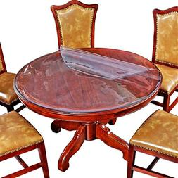 Round Table Cover Desk Tabletop Protector Clear Plastic Tabl