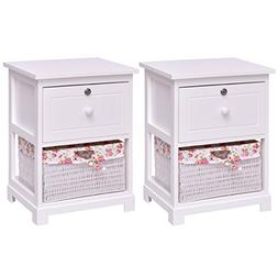 Giantex 2 Pcs 2 Tier Nightstand End Table w/ 1 Drawer 1 Bask