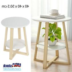 2-Tier Round Sofa Coffee Side Table Nightstand End Stand Sto