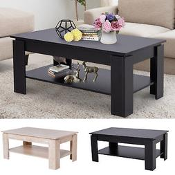 2-tier Side Coffee Table Living Room Rectangular Desk Storag
