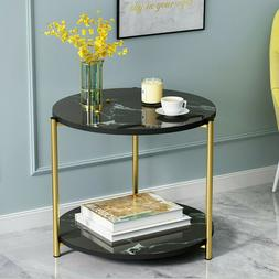 2 Tier Sofa Coffee Side  End Table Square/Round Storage Shel