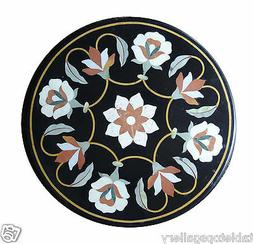 """24"""" Black Marble Coffee Side Table Top Stone Inlay Kitchen H"""