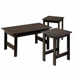 3-Piece Coffee Table Set End Side Wood Cocktail Living Room