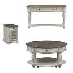3 Piece Set Of Sofa Table with Round Coffee Table and Side T
