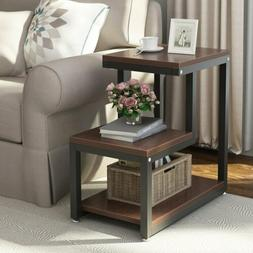 3-Tier Espresso Chair Side Table Night Stand with Storage Sh