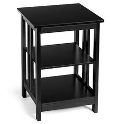 3-Tier Nightstand Side Table Wooden End Table W/ Baffles &