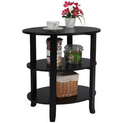 3-Tier Oval End Table Sofa Side Table Wood Accent Coffee Tab