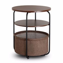 Lifewit 3-Tier Round Side End Table with Storage Canvas Bask