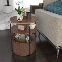 Lifewit 3-Tier Round Side Table End Table Nightstand with St