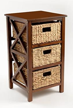 eHemco 3 Tier X-Side End Table/Storage Cabinet with 3 Basket