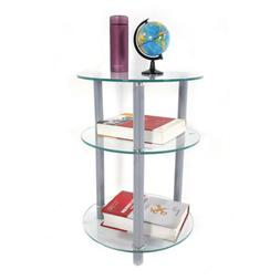 3 Tiers Round Glass Side Table Sofa End Table Corner Stand O