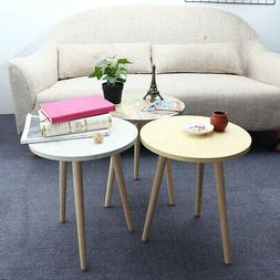 35dia Modern Round Coffee Tea Table Wood Furniture Home Deco