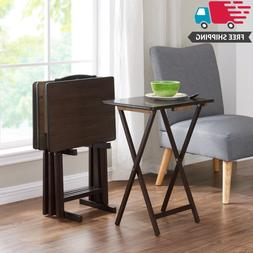 5 piece folding tv 4 tray stand
