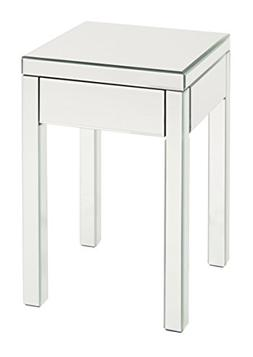 AVE SIX Reflections End Table with Drawer, Silver Mirrored F