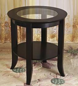 Frenchi Furniture-Wood Genoa End Table, Round Side /Accent T