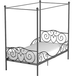 Girl's Grey Metal Canopy Bed Twin Sized Princess Gray Frame