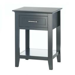 Gray Crosstown Side Table Night Stand With Pullout Drawer &