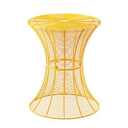 Joveco Round Top Metal Wire Side Table End Table Yellow