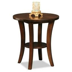 Leick Furniture Boa Collection Solid Wood Round Side End Tab
