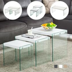 Modern Nest of 1/2/3 Tempered Glass Coffee Table Side /End T