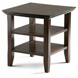 Simpli Home AXWELL3-003 Acadian Solid Wood End Table in Toba