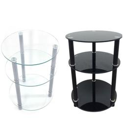 3-Tier Round Glass Side Sofa End Table Corner Stand Oragnize