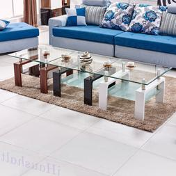 Tempered Glass Square Coffee Side Table Black White / Walnut