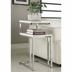 White Finish Chrome Chair Side End Snack Table
