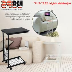 Adjustable Side Table Sofa End Cart Laptop Rolling Computer