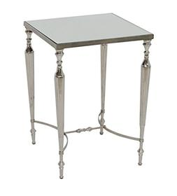 Aluminum Square Accent Side End Table with Mirror Top