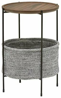Amazon Brand – Rivet Meeks Round Side Table with Fabric St