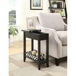 American Flip Top Side End Table ESPRESSO Furniture Stand Wo