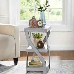 Antique Gray Twisted Side Table - Modern Distressed Finish R