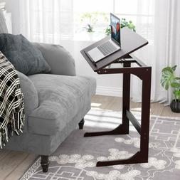 HOMFA Bamboo Adjustable Sofa Side End Table, Couch Console C