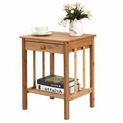 Bamboo Nightstand End Table Drawer Storage Shelf Side Table