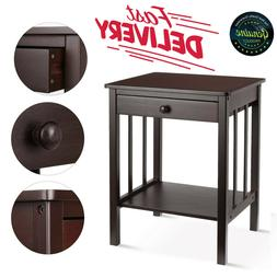 Homfa Bamboo Night Stand End Table with Drawer and Storage S