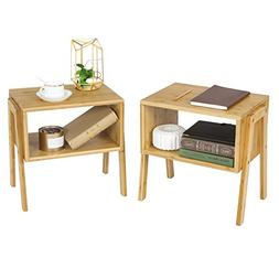 SONGMICS Bamboo Stackable Side End Coffee Couch Console Tabl