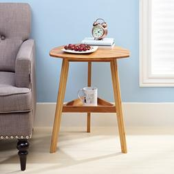 Finnhomy Bamboo Three Legged End Table, Elegant Round Coffee