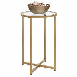 BCP 16in Modern Round Side Table Accent Furniture w/ Metal F