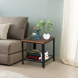 Bed Sofa Side End Tables Nightstand with 2-Tier Storage Shel