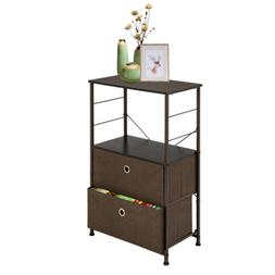Bedroom Nightstand End Side Table w/ 2 Drawer for Storage Or