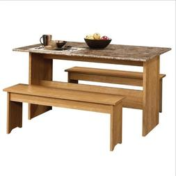 Sauder Beginnings Trestle Dining Table with Benches, Multipl