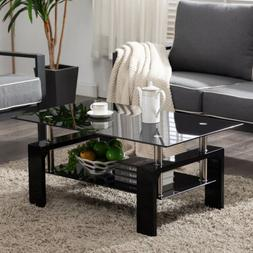 Black Highlight Glass Coffee Table End Side Table w/Shelf Li