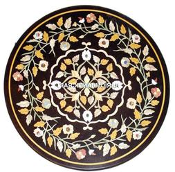 Black Marble Inlay Side Dining Table Tops Floral Mosaic Kitc